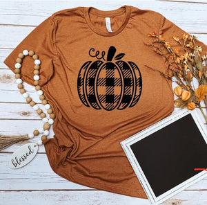 Black Plaid Pumpkin Tee; Custom T-shirt; Fall t-shirt