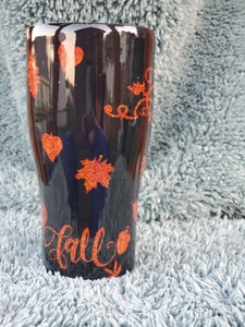 fall tumbler, fall stainless steel cup, custom tumbler