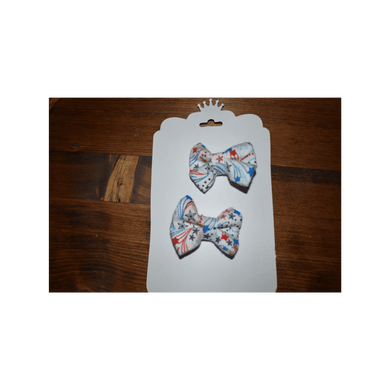 Red White Blue bows, red white blue piggies, red white blue with white base