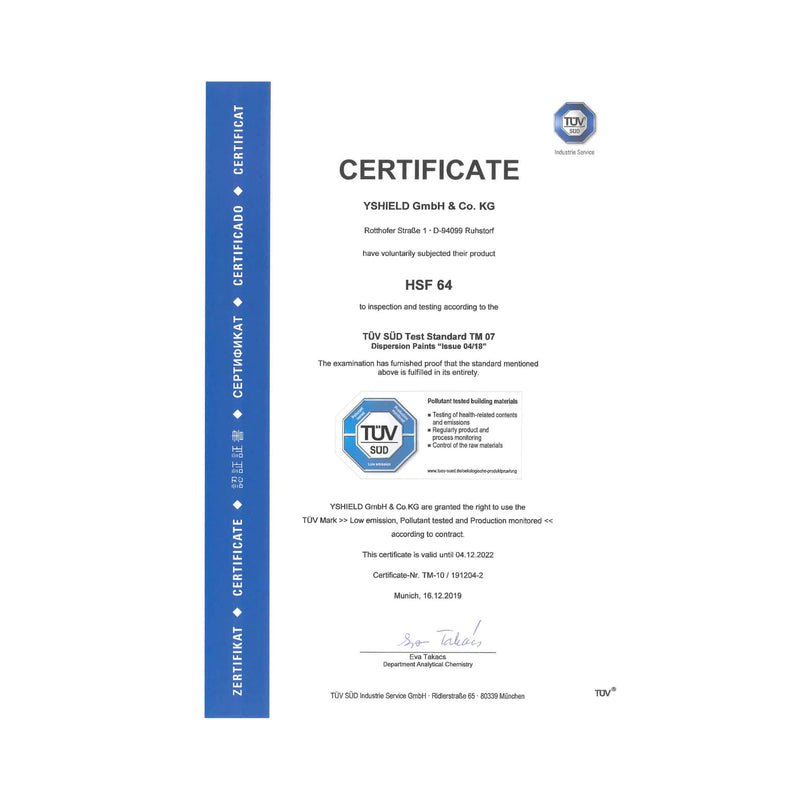 YSHIELD® HSF64 | EMF Shielding Paint TUC Certificate