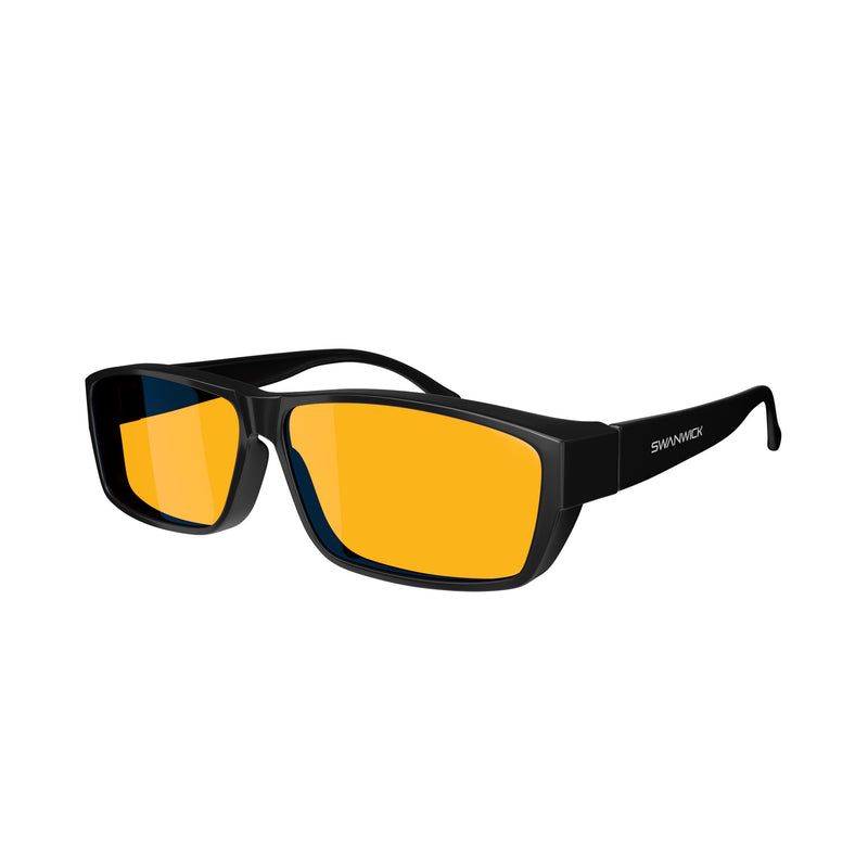 Fitover Night Swannies - Blue Light Blocking Glasses - Black 3Q
