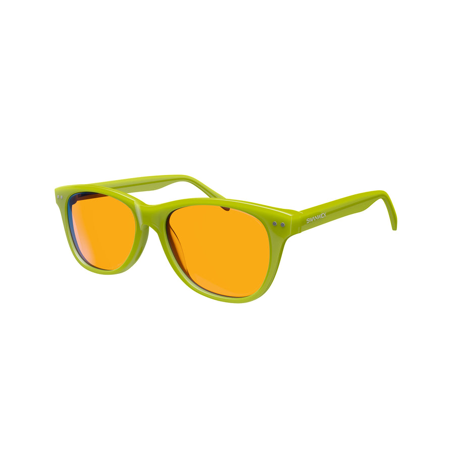 Kids Night Swannies - Blue Light Blocking Glasses - Green 3Q