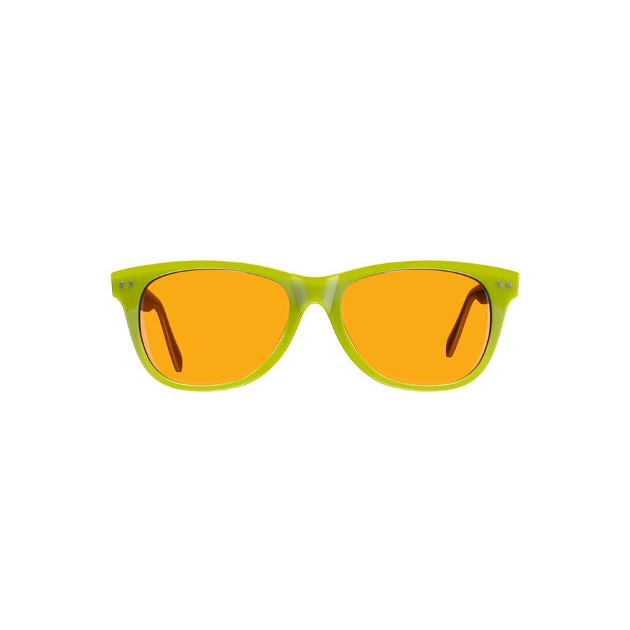Kids Night Swannies - Blue Light Blocking Glasses - Green Front