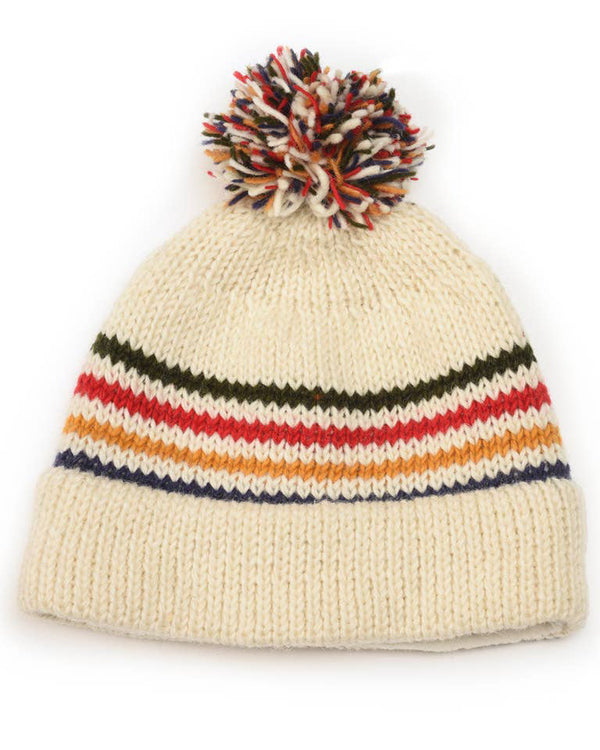Cali Ivory Striped Wool Beanie with Pom Pom
