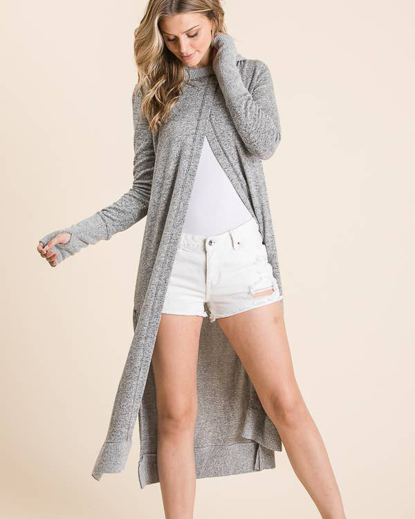 LONG HOODED CARDIGAN - HEATHER GREY