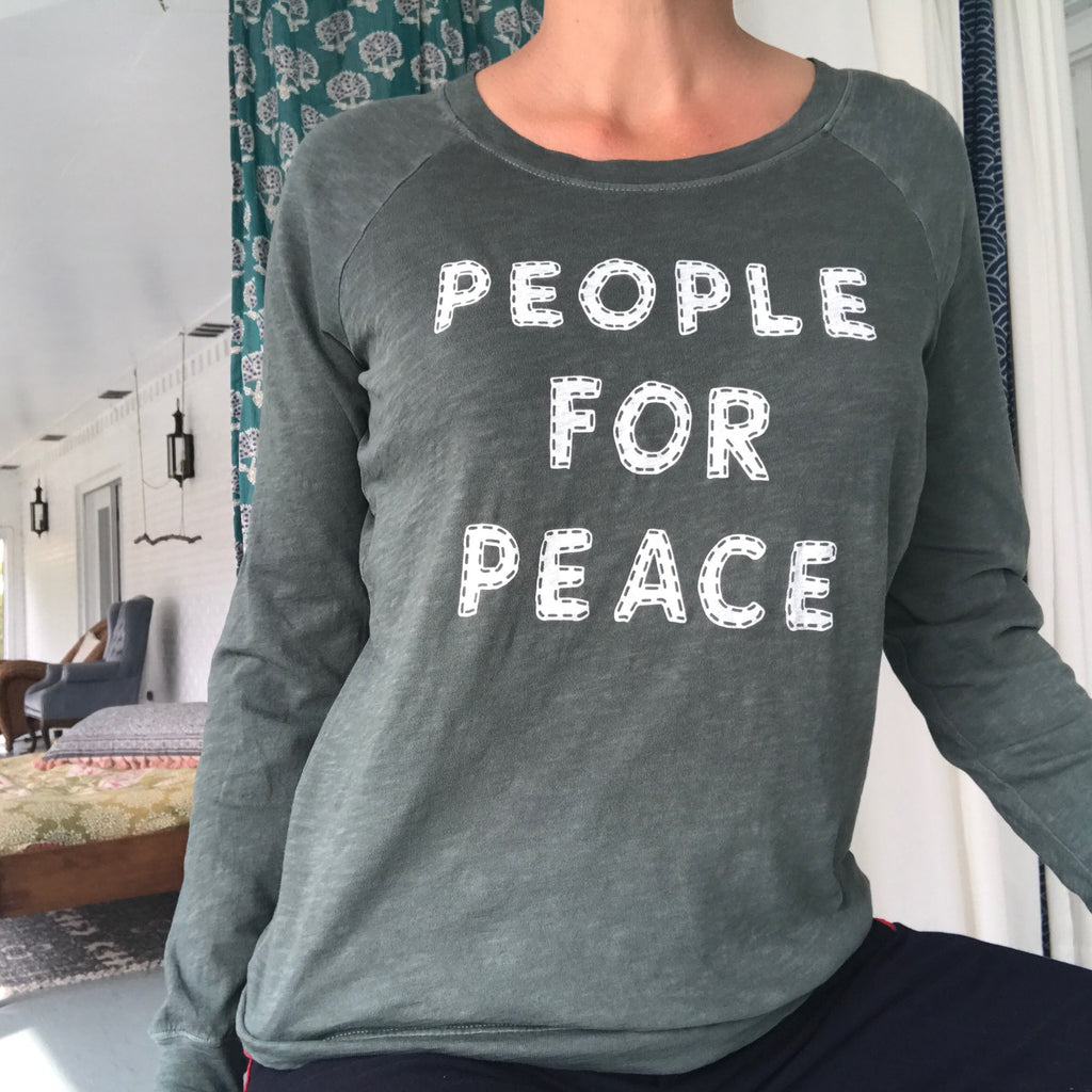 People for Peace - Sea Green Cotton Pullover