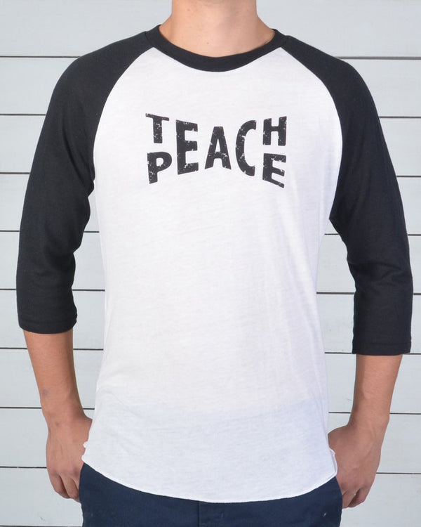 Teach Peace ~ Men's Black and White Baseball Tee