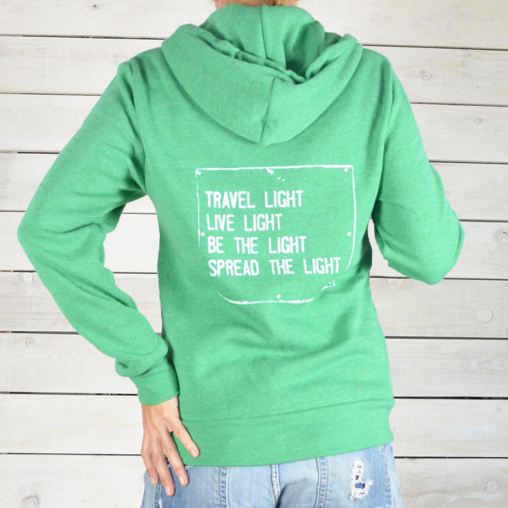 Travel Light...Spread The Light  - Unisex Green Hoodie