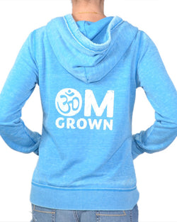 OM Grown  Blue  Super-Soft Fleece Zip Hoodie