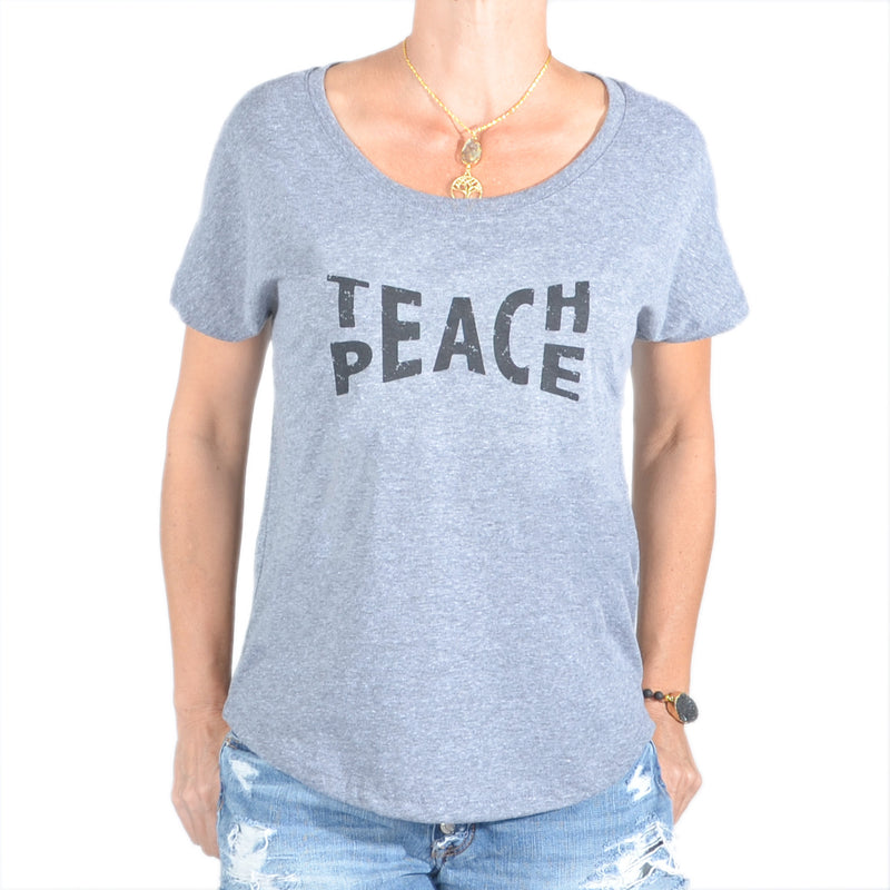 Teach Peace  ~  Grey Wide Neck Graphic Tee