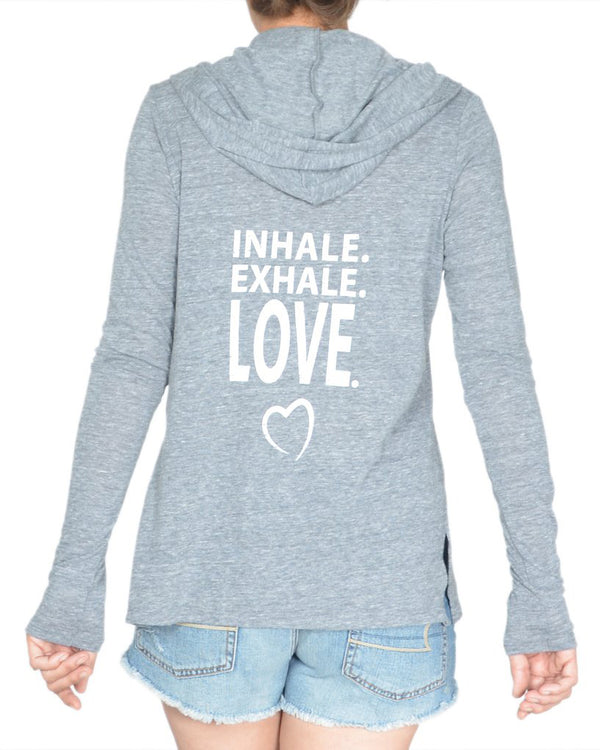 Inhale.  Exhale.  Love.  - Eco Wrap Cardigan with Hood
