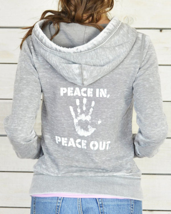Peace In, Peace Out.  Super-Soft Fleece Zip Hoodie