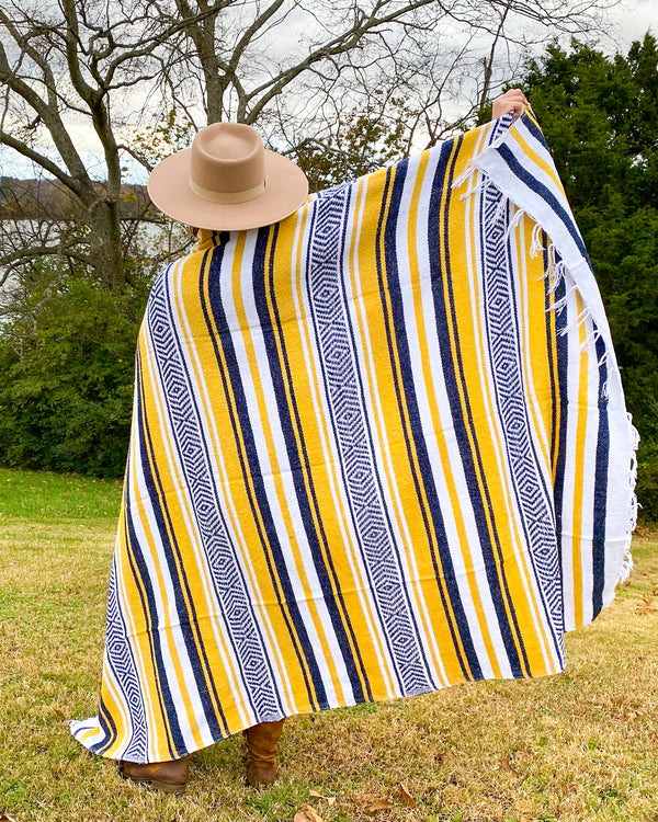 Navy and Lemon Mexican Blanket