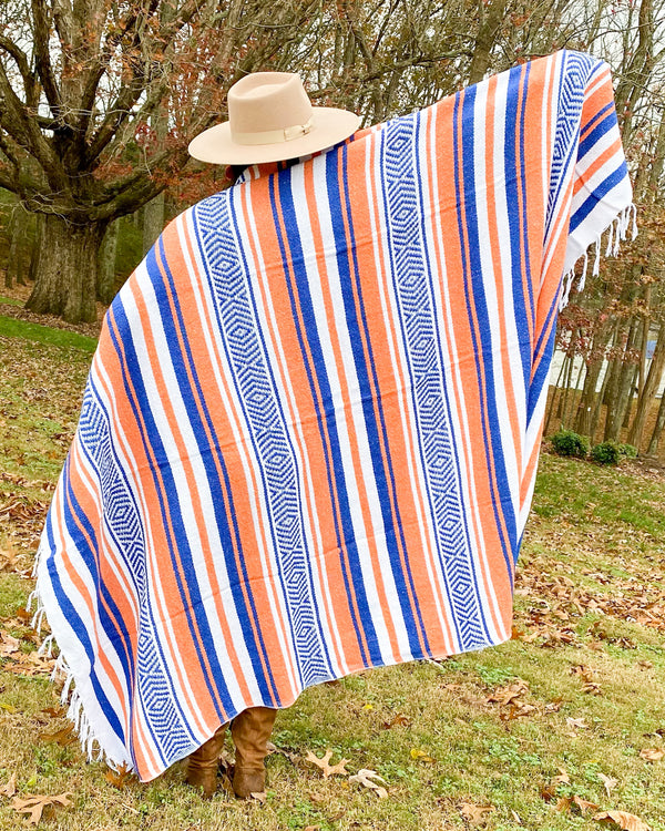 Lapis & Persimmon Mexican Blanket