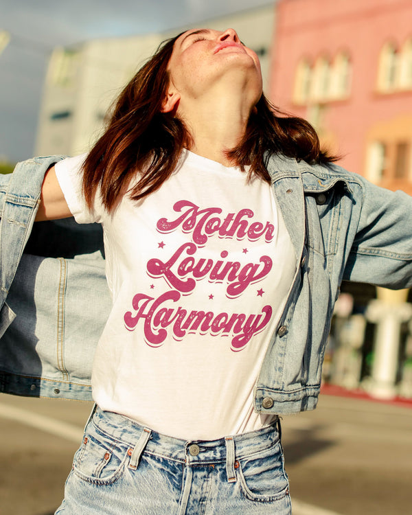 Mother Loving Harmony -  White 100% Cotton Crew