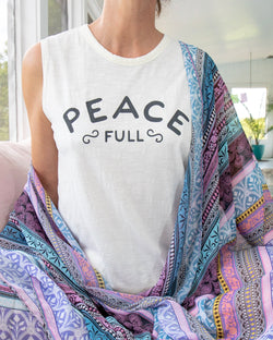 Peace Full  -  White 100% Cotton Muscle Tee