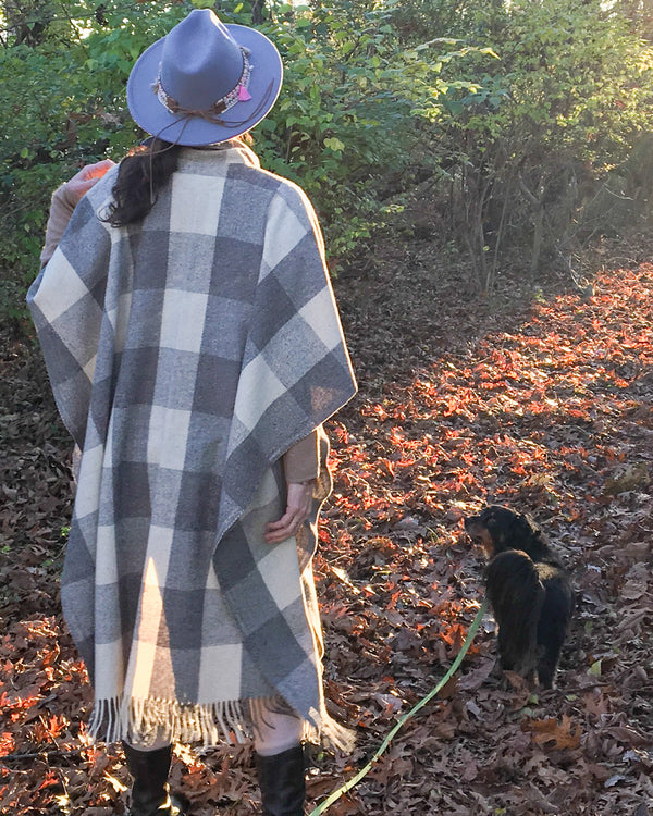 Checked Wool Cape / Poncho