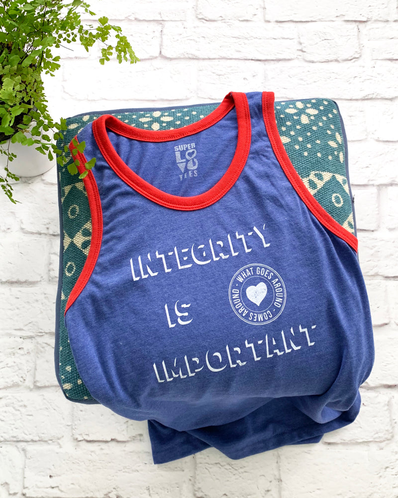 Integrity is Important Blue and Red Unisex Tank