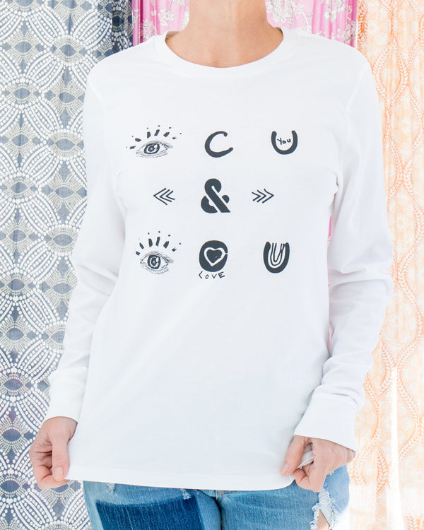 I See You and I Love You  -  White Cotton Unisex Long Sleeve Tee