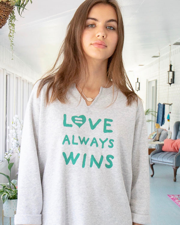 Love Always Wins - Oatmeal Raw Edge Sweatshirt