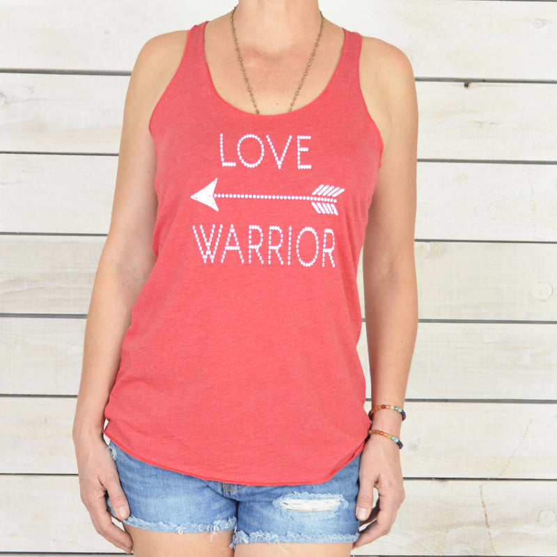Love Warrior. -Red Racer Back Tank