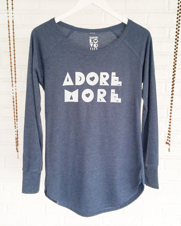 ADORE MORE - HEATHER NAVY Long Sleeve Tee