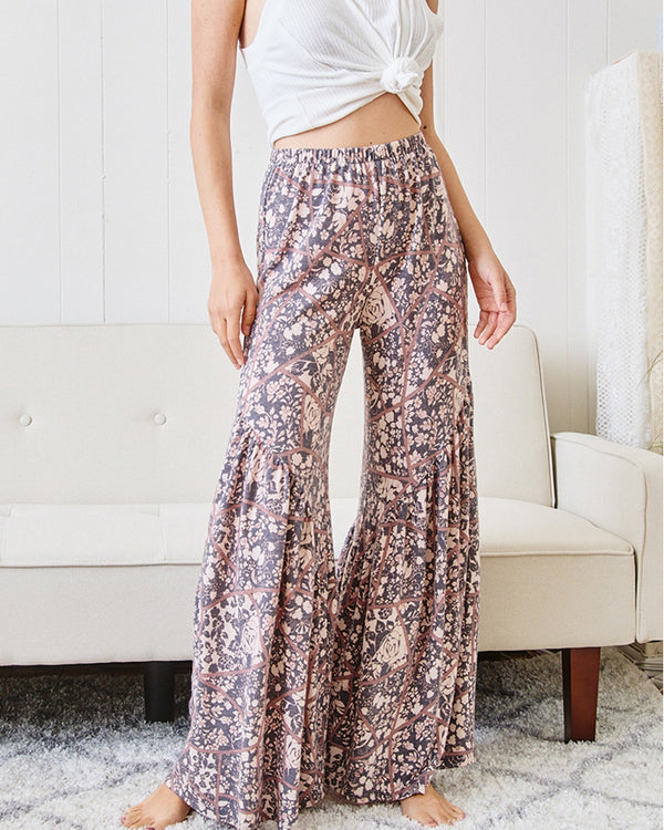 Floral Bell Bottom Pants - PREORDER