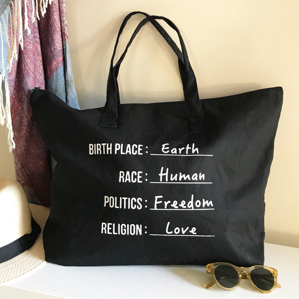 Citizen of Earth  - Black Carry All Bag