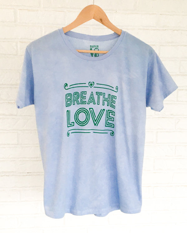 Breathe Love -  Light Blue Garment Dyed Tee