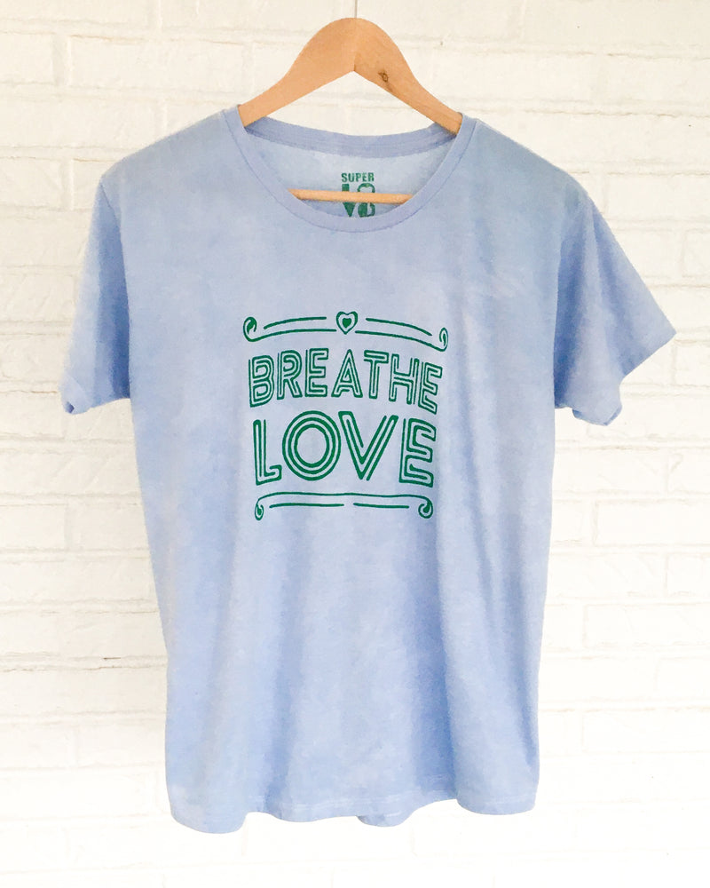 Breathe Love -  Light Blue Hand Dyed Tee