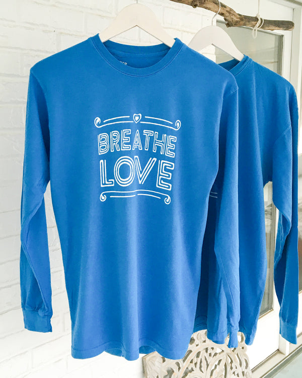 Breathe Love - Ocean Cotton Unisex Long Sleeve Tee