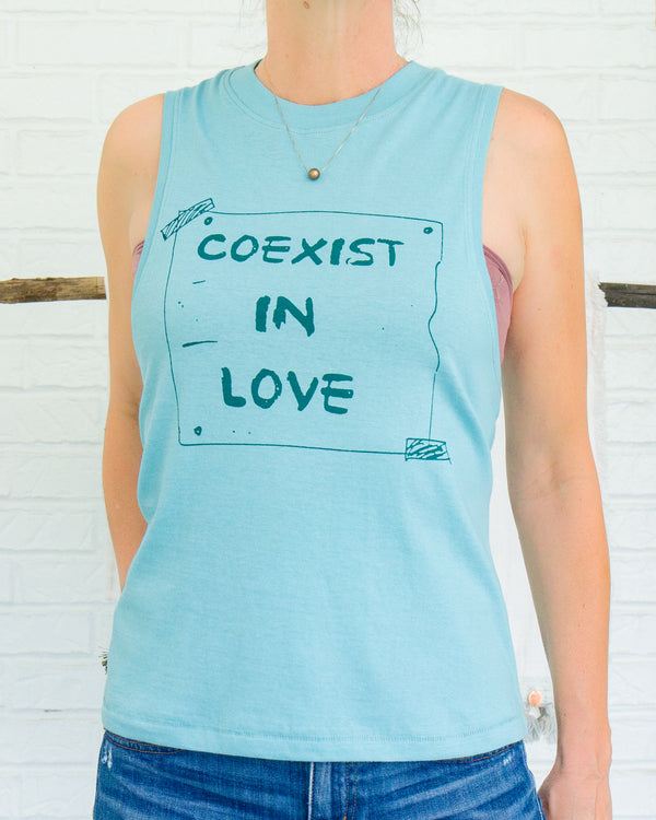 Coexist in Love - Seafoam Cotton Muscle Tee
