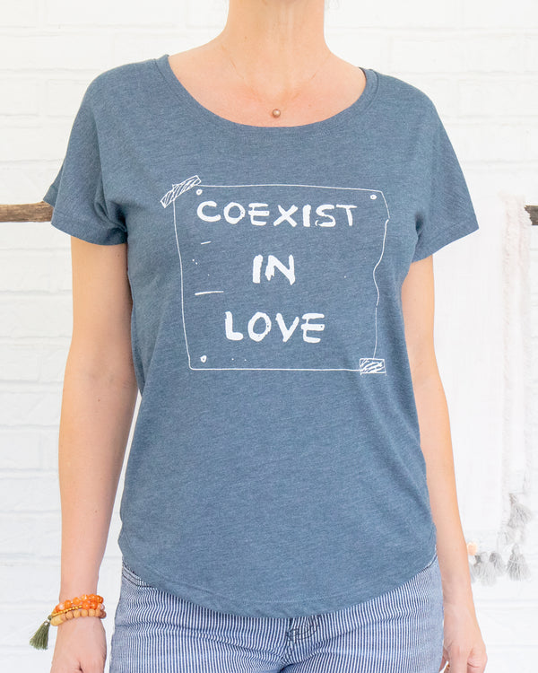 Coexist in Love -  Wide Neck Indigo Graphic Tee