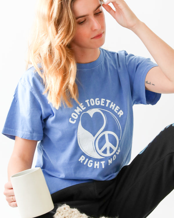 Come Together -  Periwinkle Cotton Unisex Tee