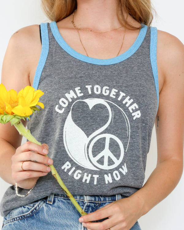 Come Together - Grey Ringer & Turquoise Unisex Tank