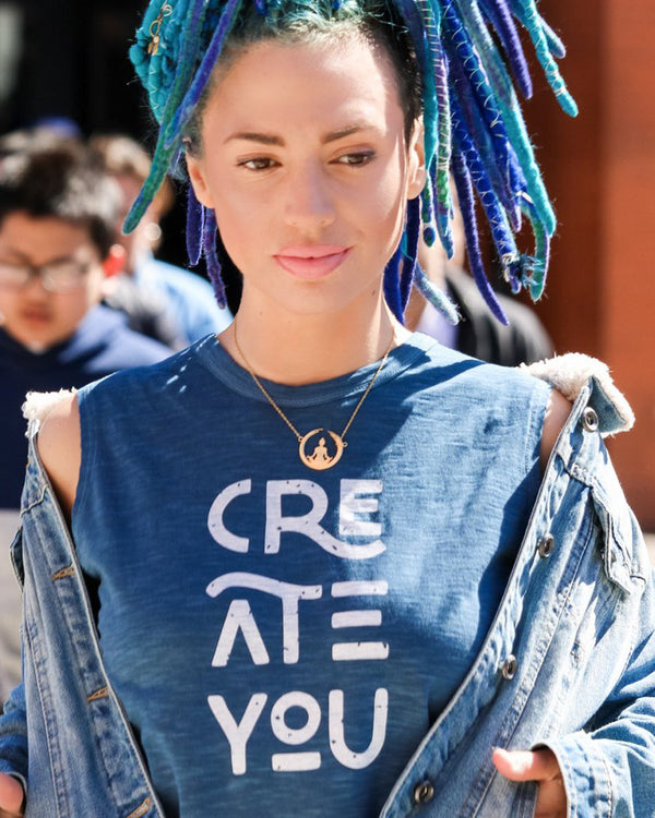 Create You - Mineral Blue Cotton Muscle Tee