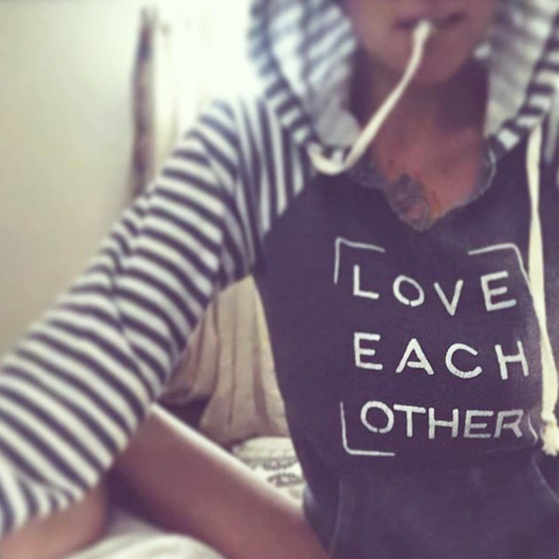 Love Each Other ~ Super-Soft Fleece Hoodie with Stripes