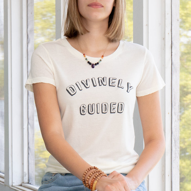 Divinely Guided -  White 100% Cotton Crew