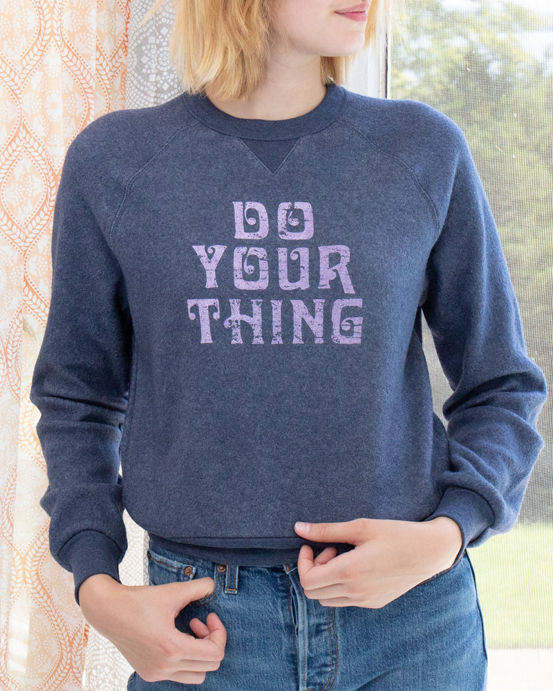 Do Your Thing  - Navy Teddy Cropped Sweatshirt