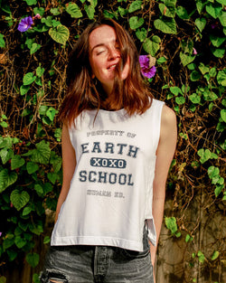 Earth School - White Side Chop Muscle Tee