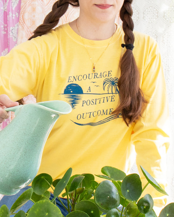 Encourage a Positive Outcome - Yellow Cotton Unisex Long Sleeve Tee