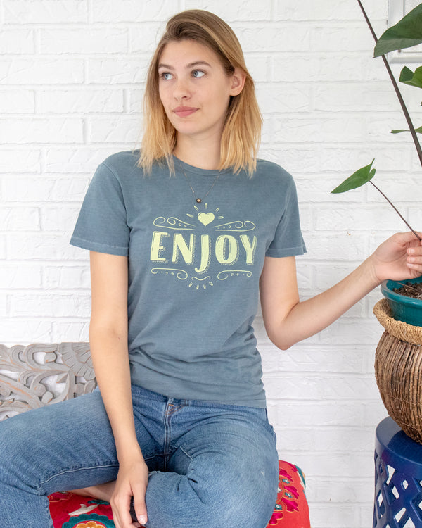 ENJOY-  Blue Cotton Unisex Crew