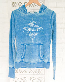 EQUALITY - Blue Burnout Pullover Hoodie