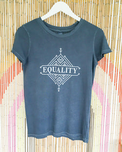 EQUALITY - Blue Distressed Cotton Tee