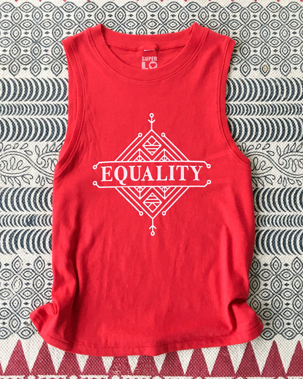 EQUALITY  - Red Cotton Muscle Tee