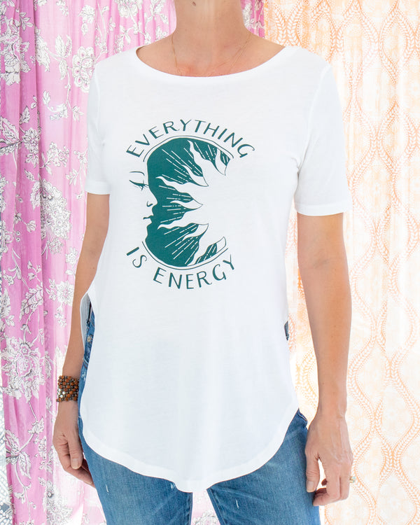 Everything is Energy - White Organic Cotton Tunic Tee