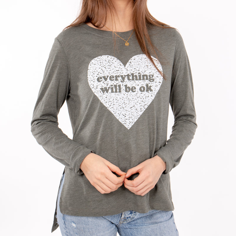 Everything Will Be Ok - Dark Olive Long Sleeve