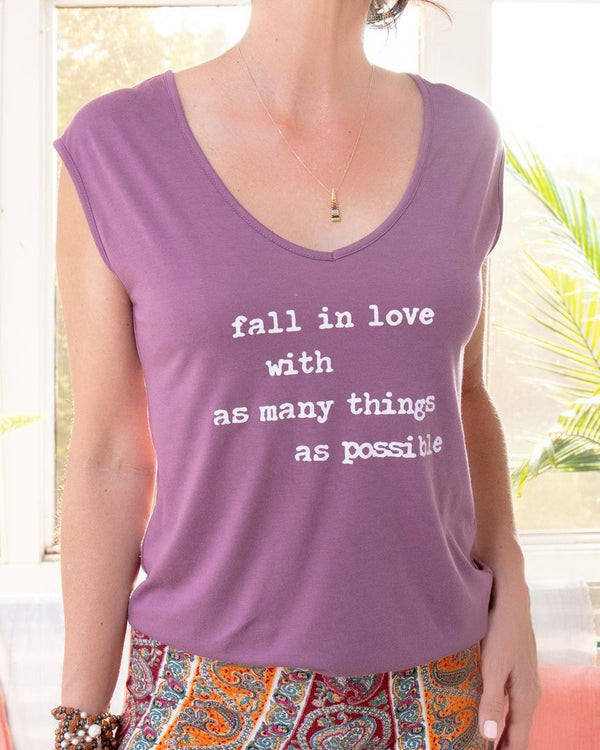 Fall in Love w/ as Many Things as Possible  - Purple V Neck