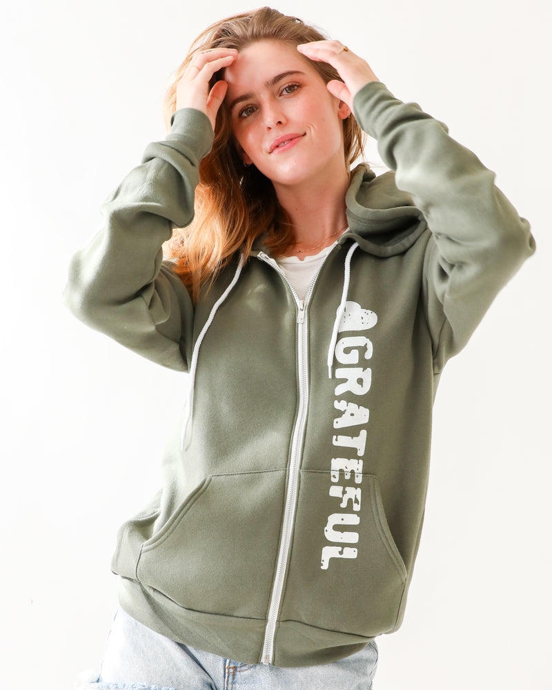 Grateful - Moss Unisex Fleece Hoodie