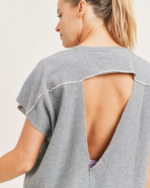 Cut Out French Terry Short Sleeve Sweatshirt